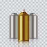 Golden Paint Aerosol Spray Metal Bottle Can, Graffiti, Deodorant, Household Chemicals, Poison. Royalty Free Stock Images