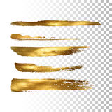 Golden paint brush stroke set. Vector gold paint brush stroke collection. Abstract gold glittering textured brush strokes. Vector illustration of a golden foil Royalty Free Stock Images