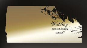 Golden paint smear on dark background. Golden paint smear on dark black background realistic vector. Beautiful vintage black gold design for wedding ceremony vector illustration
