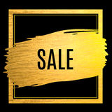 Golden paint stroke sale offer label Stock Photography