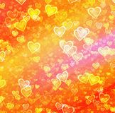 Golden painted hearts backgrounds. Love symbol Stock Image