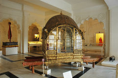 Golden Palanquin. A golden palanquin in the Royal house of Mehrangarh Fort Jodhpur Rajasthan Royalty Free Stock Photography