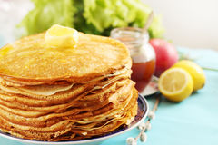 Golden pancakes Royalty Free Stock Images
