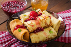 Golden Pancakes With Cranberry Jam Royalty Free Stock Images