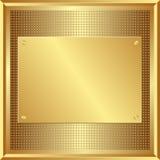 Golden panel. On grid texture Stock Photo