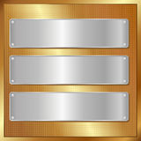 Golden panel. With three silver banners Stock Photography