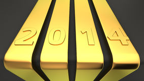 Golden ribbons 2014 Royalty Free Stock Images