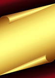 Golden Paper. With curled edges Stock Photo