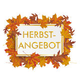 Golden Paper Board Autumn Foliage Herbstangebot Stock Photo