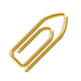 Golden paper clip Royalty Free Stock Photos