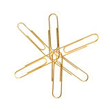 Golden paper clips Royalty Free Stock Photos