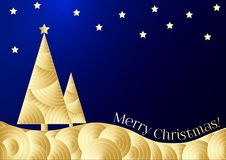A golden paper cut Christmas tree and stars on the dark blue sky. Creative vector card, vector festive carnival colorful pattern w. Ith copyspace. The colorful Stock Images
