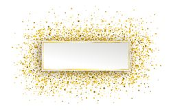 Golden Paper Golden Confetti Particles. Golden paper with golden glitter confetti on the white Stock Images