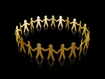 Golden paper men circle Stock Photography