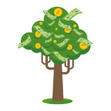 Golden paper money tree icon. Money tree with gold coins and paper dollars. Symbol of success, wealth and power. Finance and banks, savings and investments. Flat Royalty Free Stock Photos