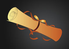 Golden Paper roll. A ancient golden paper rolled by ribbon vector illustration
