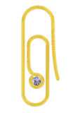 Golden paperclip with diamond Stock Images