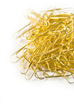 Golden Paperclips In Pile Royalty Free Stock Image