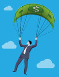 Golden parachute business concept Royalty Free Stock Image