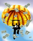 Golden Parachute Cash Silhouette Business Man