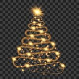 Golden particle wave in form of christmas tree. With bright shining and glowind particles  on transparent background. Glitter bright trail, glowing wave vector Royalty Free Stock Image