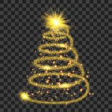 Golden particle wave in form of christmas tree. With bright shining and glowind particles isolated on transparent background. Glitter bright trail, glowing wave Royalty Free Stock Photography
