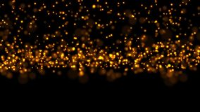 Golden particles sparkling falling down, holiday christmas new year celebration stock footage