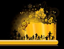 Golden party background. Beautiful new year poster with stars and silhouettes in gold stock illustration