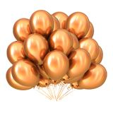 Golden party balloon bunch colorful. Birthday party decoration. Party balloon bunch golden colorful. Birthday party decoration yellow glossy. Helium balloons Stock Photo