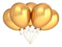 Golden party balloon five 5. birthday decoration luxury. Yellow helium balloons bunch shiny. holiday, anniversary, celebration symbol. 3d illustration Stock Images