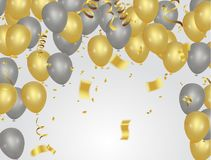 Golden party balloons isolated on white background. Eps.10 Stock Photo