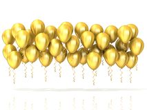 Golden party balloons row. Isolated on white background Stock Photo
