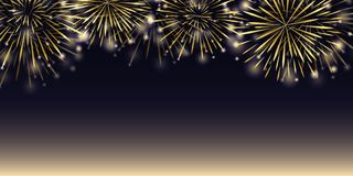Golden party firework in the night sky vector illustration