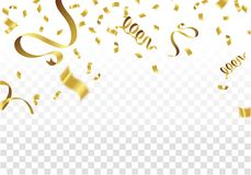 Golden Party Flags With Confetti And Ribbon Falling On White Bac. Kground. Celebration Event & Birthday. Vector Royalty Free Stock Photography