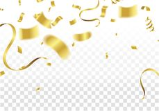 Golden Party Flags With Confetti And Ribbon Falling On White Bac. Kground. Celebration Event & Birthday. Vector Royalty Free Stock Photos