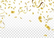Golden Party Flags With Confetti And Ribbon Falling On White Bac. Kground. Celebration Event & Birthday. Vector Royalty Free Stock Image
