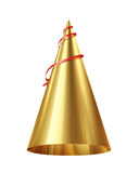 Golden party hat isolated on white background Royalty Free Stock Image