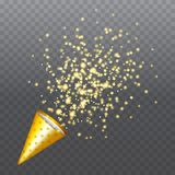 Golden party popper with exploding confetti particles. Isolated on transparent background. Dotted paper cone with sparkling stars. Festive or magic decoration Stock Photography