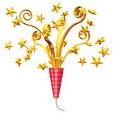 Golden Party Popper And Stars Stock Photos