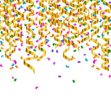 Golden Party Streamers Stock Photo