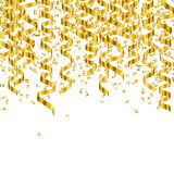 Golden Party Streamers. Illustration of Golden Party Streamers and Confetti Stock Images