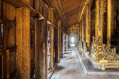 Golden path inside ancient wooden house Royalty Free Stock Photo