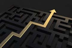 Golden path showing the way out of the maze. 3D rendered illustration of a simple dark labyrinth with a golden path and arrow showing the way out of the maze royalty free stock image