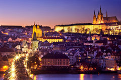 Golden Path towards Prague Castle. Magnificent view of the Prague Castle and Charles Bridge leading towards it royalty free stock photo