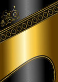 Golden pattern and border with crosses on black glossy background Stock Photo
