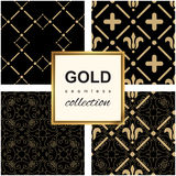 Golden pattern on dark damask background Royalty Free Stock Photo