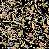 Golden pattern with flowers Stock Images