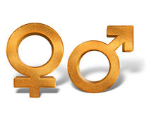 Golden pattern gender sex 3D symbols isolated Royalty Free Stock Images