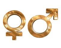 Golden pattern gender sex 3D symbols isolated Stock Photo