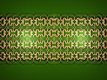 Golden pattern on green  Stock Photo